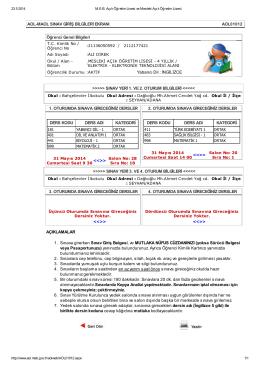 AOL-MAOL SINAV GİRİŞ BİLGİLERİ EKRANI AOL01012 Öğrenci