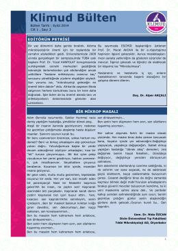 KLİMUD e-bülten Eylül 2014 - Klinik Mikrobiyoloji Uzmanlık Derneği