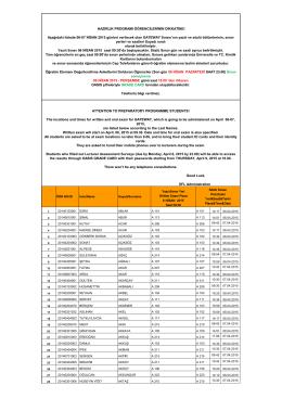 Aşağıdaki listede 06-07 NİSAN 2015 günleri verilecek