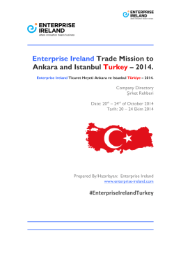 Enterprise Ireland Trade Mission to Ankara and Istanbul Turkey
