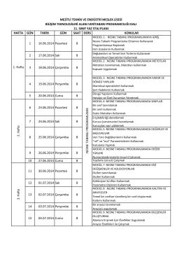 Bilişim Teknolojileri Alanı Veri Tabanı Programcılığı Dalı 11. Sınıf