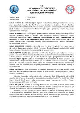 karar 2014/006 - Afyon Kocatepe Üniversitesi