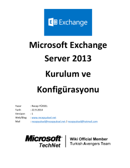 Microsoft Exchange Server 2013 Kurulum ve