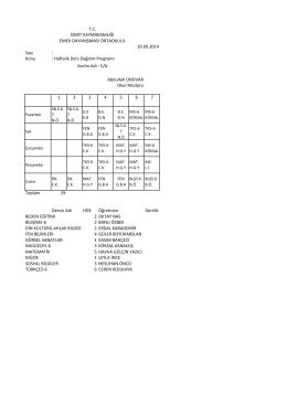 Sayı : Konu : Haftalık Ders Dağıtım Programı 1 2 3 4 5 6 7 Toplam 29