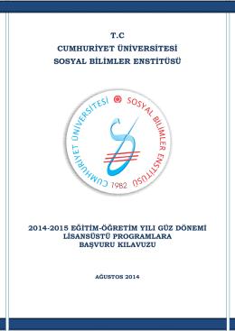 tc cumhuriyet üniversitesi sosyal bilimler enstitüsü 2014