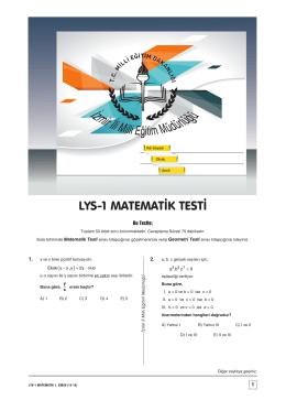 A A A A A A LYS-1 MATEMATİK TESTİ - İzmir İl Milli Eğitim Müdürlüğü