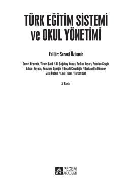 Türk Eğitim Sistemi ve Okul Yönetimi Servet Özdemir.indb