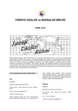 2014 Nisan (pdf-239 Kb) - Dünyadan İşbirliği Teklifleri