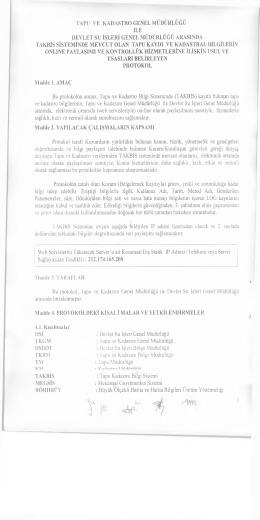 TKGM ile DSİ Genel Müdürlüğü arasındaki 04.08.2014 tarihli ve 2 yıl