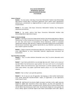 Bölüm Staj Esasları - celal bayar üniversitesi mühendislik fakültesi