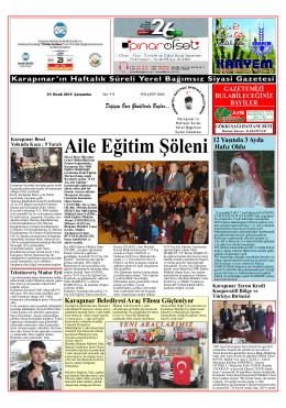 YEŞİLPINAR GAZETESİ - yeşilpınar gazetesi