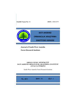 Dergisi Sayı 11 Cilt I - Batı Karadeniz Ormancılık Araştırma Enstitüsü
