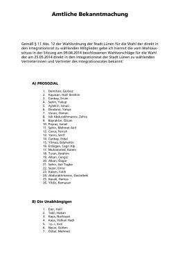 Listenvorschläge Integrationsratswahl 2010