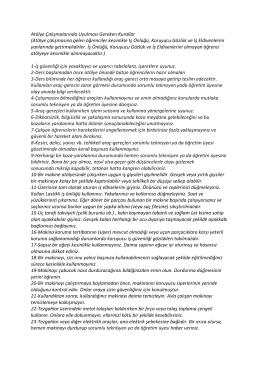 Atölye Çalışmalarında Uyulması Gereken Kurallar (Atölye