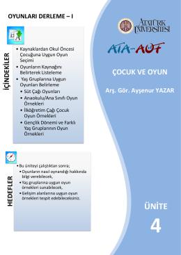 ÜNİTE - Ataturkuni.Com - Atatürk Üniversitesi AÖF Öğrenci Platformu