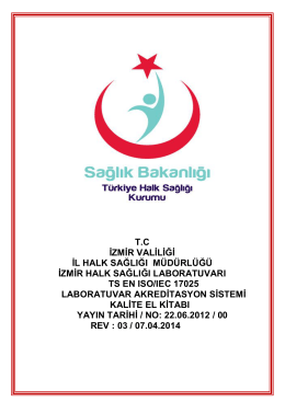 Kalite El Kitabı - İzmir Halk Sağlığı Laboratuvarı