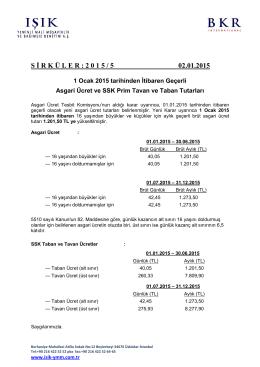 1 ocak 2015 tarihinden itibaren geçerli asgari ücret ve ssk prim
