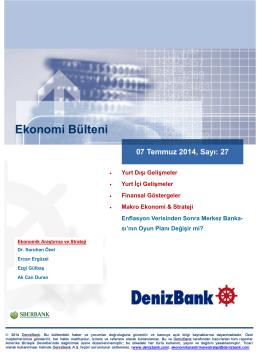 Yurt Dışı Gelişmeler DenizBank Ekonomi Bülteni 07