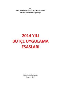 2014 YILI BUE-03.04.2014 - TC Gıda Tarım ve Hayvancılık Bakanlığı