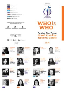 WHOis WHO Antalya Film Forum Ulusal Konuklar National Guests