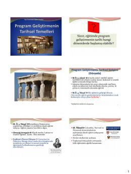 3. Program Geliştirmenin Tarihsel Temelleri ve Program Tasarım