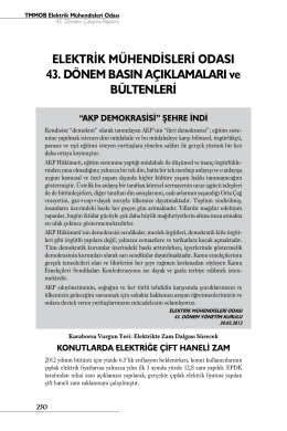 EMO 43. Dönem Basın Açıklamaları ve Bültenleri