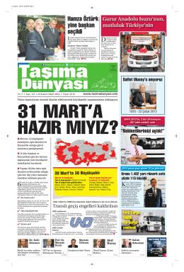 Taşıma Dünyası Gazetesi-127-PDF 24 Şubat 2014 tarihli sayısını