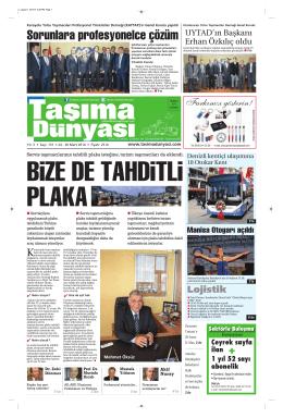 Taşıma Dünyası Gazetesi-131-PDF 24 Mart 2014 tarihli sayısını
