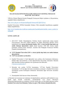 T.C. İSTANBUL ÜNİVERSİTESİ HASAN ALİ YÜCEL EĞİTİM
