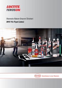 Otomotiv Bakım Onarım Ürünleri 2015 Yılı Fiyat Listesi
