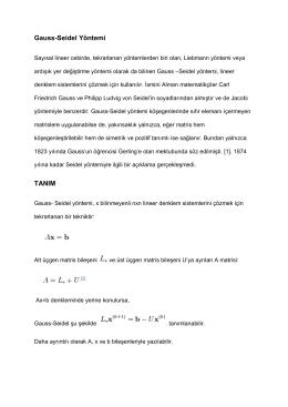 Gauss-Seidel Yöntemi TANIM
