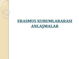 erasmus kurumlararası anlaşmalar