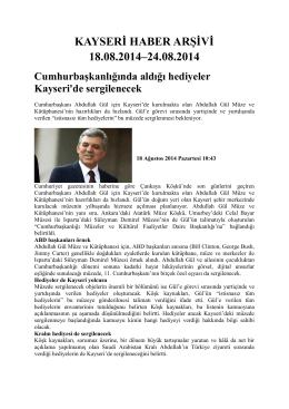 kayseri haber arşivi 18.08.2014–24.08.2014 - Kayham