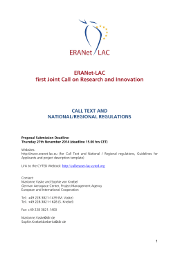ERANet-LAC first Joint Call on Research and Innovation