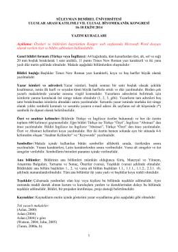 Yazım Kuralları - Süleyman Demirel Üniversitesi