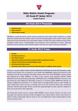 Küba Kültür Gezisi Programı 30 Ocak
