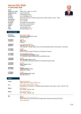 Özgeçmiş (CV) PDF