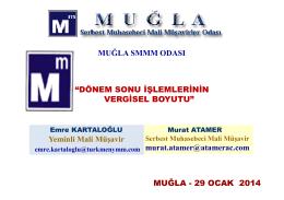 """""""DÖNEM SONU İŞLEMLERİNİN VERGİSEL BOYUTU"""" MUĞLA"""
