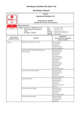 Akreditasyon Sertifikası Eki (Sayfa 1/15) Akreditasyon Kapsamı