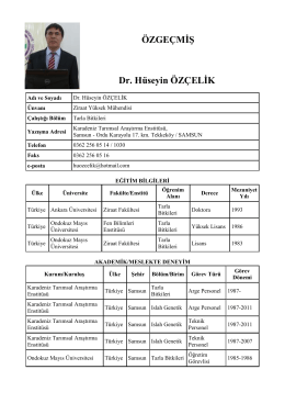 ÖZGEÇMİŞ Dr. Hüseyin ÖZÇELİK