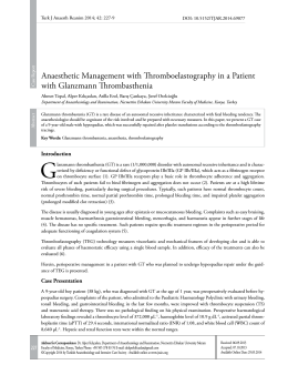 Anaesthetic Management with Thromboelastography