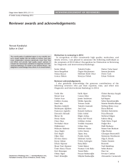 Reviewer awards and acknowledgements