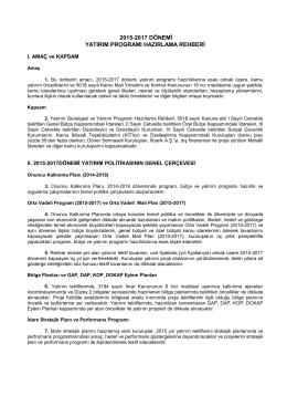 2015-2017 dönemi yatırım programı hazırlama rehberi