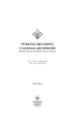 Türkİye OrTadOğu Çalışmaları dergİsİ