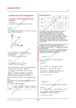Karmaşık Sayılar - Trigonometri Karması