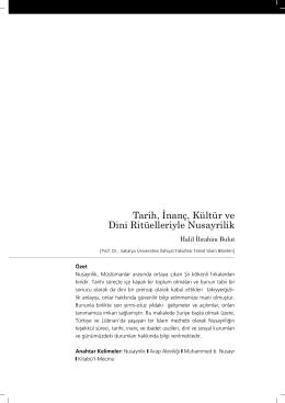 Tarih, İnanç, Kültür ve Dini Ritüelleriyle Nusayrilik - Türkçe