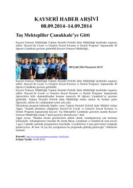 kayseri haber arşivi 08.09.2014–14.09.2014 - Kayham