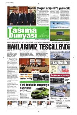 Taşıma Dünyası Gazetesi-137-PDF 5 Mayıs 2014 tarihli sayısını