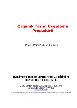 Organik Tarım Uygulama Prosedürü