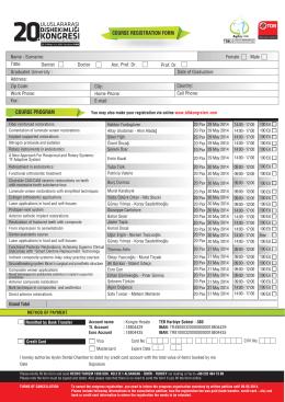 congre kayıt form en - 21. Uluslararası Dişhekimliği Kongresi